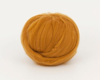 Mustard B185, 1.78oz (50gr) 22mic fine merino felting wool, for needle felting, wet felting, spinning. 100% wool.