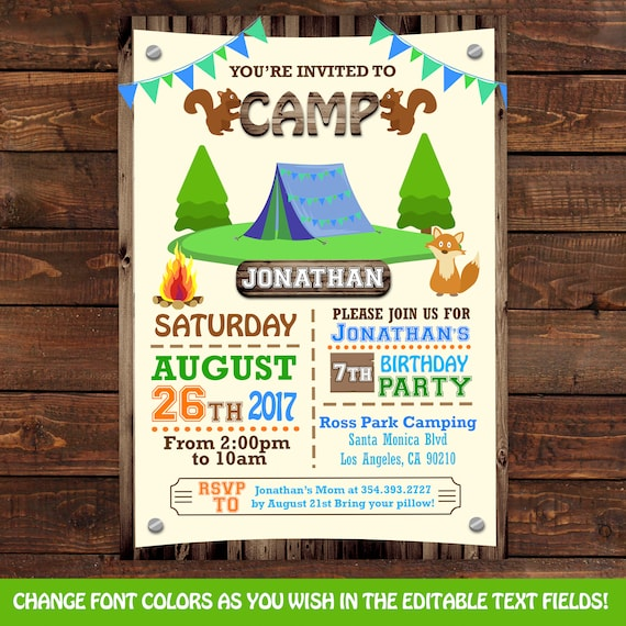 camping party invitation templates koni polycode co