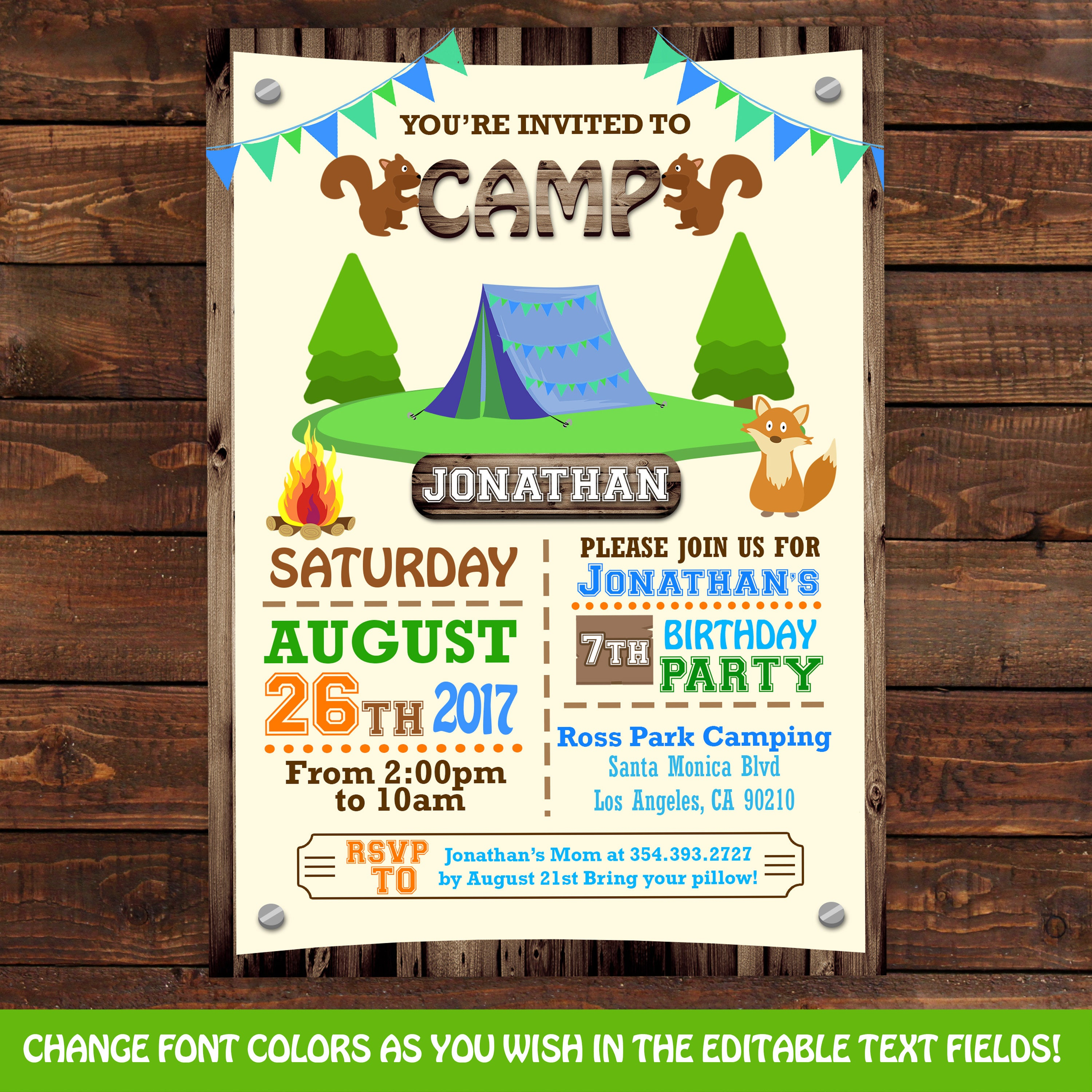Camping tent birthday invitations Camping Party Invitations