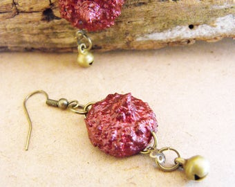 Real acorn, woodland jewelry, nature inspired, organic jewellery, burgundy glitter, forest wooden, sparkly, natural, forest wedding, dangle