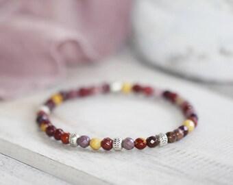 Delicate Mookaite Bracelet, Minimalistic Mookaite Jasper Bracelet with Karen Hill Tribe Silver Beads, Stretch Beaded Bracelet