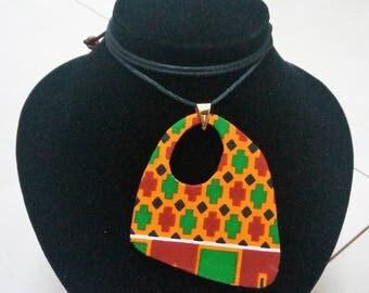 Kente Design Fabric Pendant Necklace, Kente Necklace, Pendant necklace, Statement Necklace