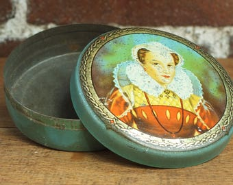 Vintage 1930s Tin McVities and Price Small Biscuit Tin Decorative Mary Queen of Scots Storage