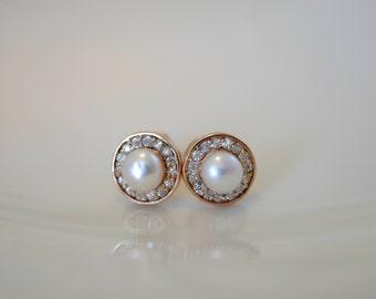 Freshwater Pearl zircon earrings rose gold plated 925 Silver Rose Gold plated fresh water Pearl zirconium of studs