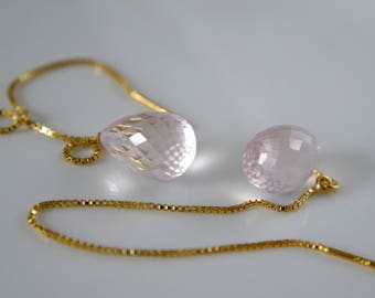 Opulent Rose Quartz earrings ear Durchzieher earring box chain silber925 gold plated