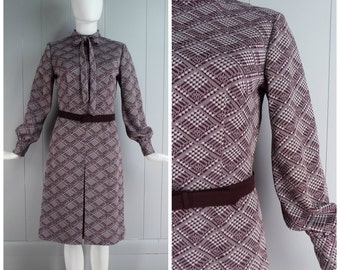 Vintage Womens 1970s Purple & Cream Diagonal Plaid Long Sleeve Dress with Belt and Neck Tie | Size S