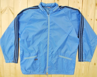 Vintage 1970's Powder Blue ADIDAS Windbreaker / Retro Collectable Rare
