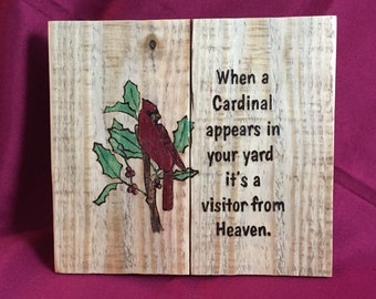 Handmade Cardinals Are Visitors From Heaven Wall Hanging