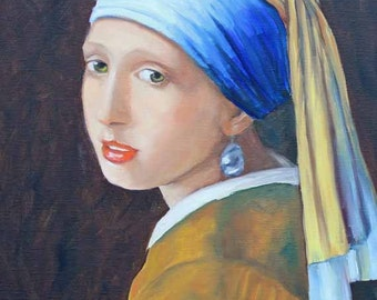 """Oil Painting,Portrait Painting,Reproduction Art, Masters"""",Girl With A Pearl Earring"""",Johannas Vermeer,Prints,Art Prints,Giclee,Fine Art"""