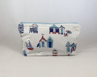 Pouch, makeup bag or pencil case of beach huts and sailing boats