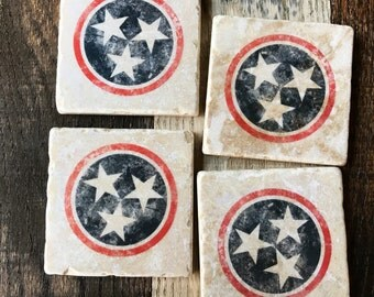 Tristar Nashville Coasters, Red White and Blue, Star, Tennessee, TN, Nashville Theme, Music City, Knoxville, Memphis, christmas gift