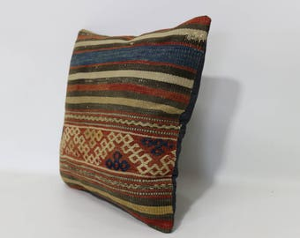 Anatolian Kilim Pillow Home Decor Ethnic Pillow 16x16 Decorative Kilim Pillow Vintage Kilim Pillow Striped Cushion Cover  SP4040-2454