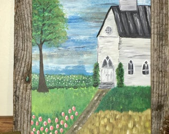 Church painting canvas painting spring painting religious painting