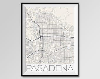 PASADENA California Map, Pasadena City Map Print, Pasadena Map Poster, Pasadena Wall Map Art, Pasadena gift, Personalized California map