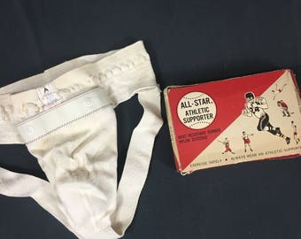 Vintage Jock Strap, Athletic Supporter, Father's Day Gift, Vintage Sports Equipment, George Frost, 1950's, Size L, In Box, Men's Supporter