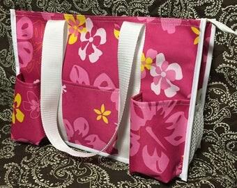 Lg. Pink hibiscus diaper bag