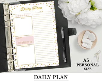 Printable DAILY PLAN insert for your Personal and A5 Planner, Day planner Printable, Daily Filofax planner, Daily Organizer Printable,