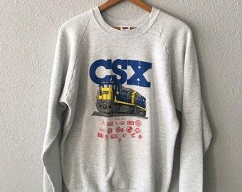 1991 CSX Vintage Train Graphic Locomotive Sweatshirt