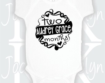two months old personalized name onepiece bodysuit one piece body suit custom baby shower gift 2 months second month pictures matching baby