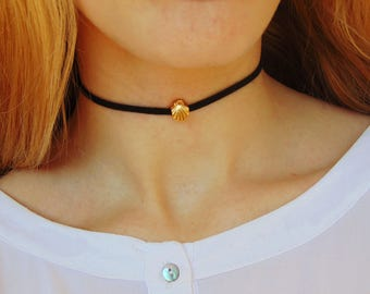 Shell Choker, Shell Necklace, Seashell Necklace, Shell Jewelry, Beach Necklace, Shell Pendant, Sea Shell Necklace, Black Choker