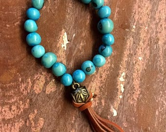 Tassel bracelet with Brown and turquoise beads