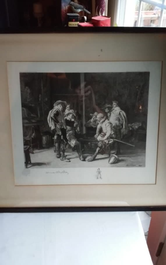 Vintage Armand Mathey Etching/Engraving. Copyright 1899 Klackner West 28th St. NY. Signed Moissonier 1860 Lower Right.  Framed 26 x 23.