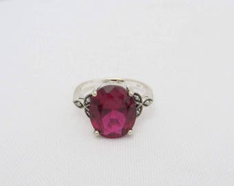 Vintage Sterling Silver Ruby & Seed Pearl Ring Size 7
