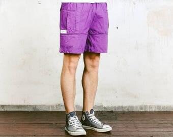 Vintage Surf Shorts . 90s Mens Beach Shorts Purple Sports Shorts Jogging Shorts Retro Beachwear Mens Board Shorts Hipster . size Medium