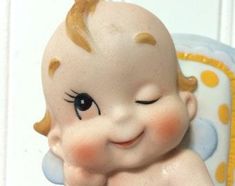 Vintage Winking Kewpie Doll in Highchair by Lefton