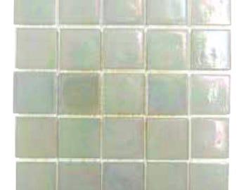 "White Iridescent Glass Tiles 9/16"""