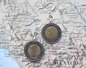 Mexican biclor coin earrings - made of coins from Mexico