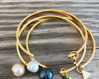 OOAK 22k gold plated bangle with freshwater pearl and charm