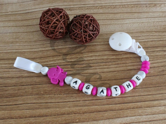 Attached nipple / sucks / lollipop to chew on, silicone, personalized with baby