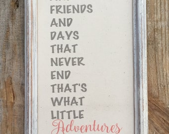 Childs quote on canvas,framed canvas quote,giggles and friends,childs room decor,friend gift,adventures,nursery room frame,gallery wall art