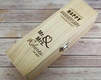 Anniversary Wooden Wine Box - Anniversary Gift - 5th Anniversary Gift - Wooden Anniversary Gift - Wine Box Gift - 5th Wedding Anniversary