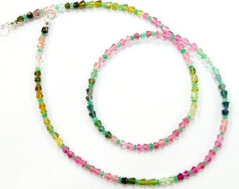 natural gem stone multi color tourmaline and zambian beads complete necklace top quality with new shape 45 carats 17 inches 3 mm