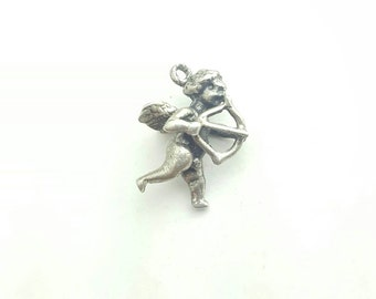 Vintage Sterling Silver Cupid Cherub with Bow and Arrow Three Dimensional Love Charm