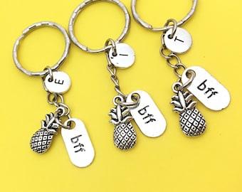 Set of 3 Personalized BFF Best friends keychain - set of three, BFF charm,3 BFF keychain, set of 3 best friend,customized keychain,monogram