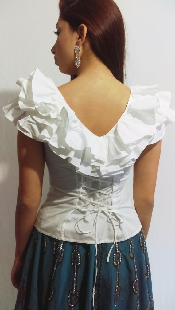 White Shirt Corset With Ruffles by Anne Fontaine made in
