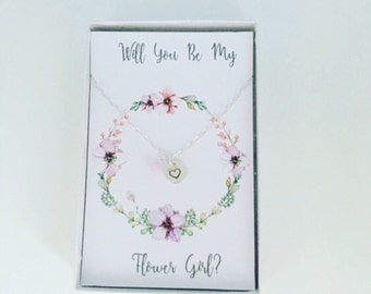 Flower girl necklace with a message card, hand stamped heart necklace, flower girl gift, flower girl present, flower girl jewellery,