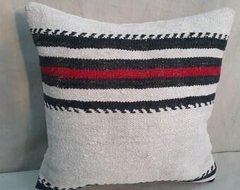 "Kilim Pillow, 16""×16""İnches, Hemp Pillow, Linen Pillow, White Pillow, Pillow Cover, Throw Pillow, Cushion Cover, Decorative Pillow, Moroccan"