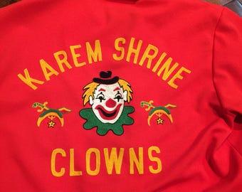 Vintage Karem Shrine Clown Shirt red