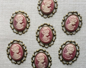 7 Pink Lady cameo, antique brass frame, flat backing, vintage style