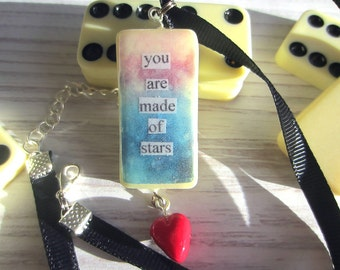 Domino Quote Necklace, Domino Jewelry, Star Necklace, Heart Charm, Handmade Necklace, Upcycled Necklace, Domino Pendant, Handmade Jewellery