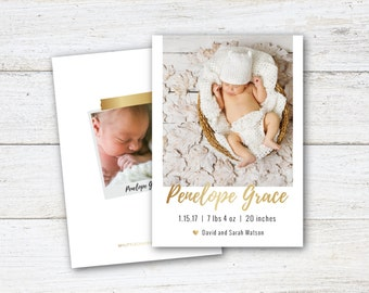 Birth Announcement, Baby Card, Baby Birth, Postcard, Baby Girl, Baby Boy, Photo Card, One Photo, Two Photos, One Side, Two Sides, Custom
