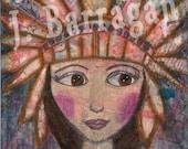 Spiritual Gift, Wood Wall Art, Inspirational Quote, Headdress girl, soul's sacred journey, Mixed Media, Jackie Barragan, Courage & Art