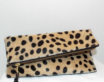 Cheetah Print leather Clutch bag