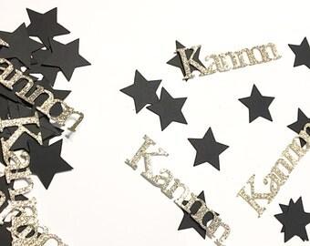 Name confetti.  Custom confetti.  Birthday confetti.  Gold glitter confetti.  Black and gold confetti.   Gold glitter confetti