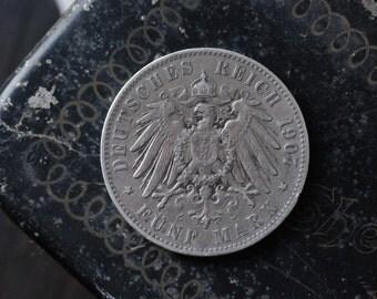 5 Mark, J Hamburg, Germany 1907, antique coin