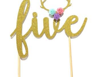 1 pc five flower roses deer antler boho bohemian tribal native Theme Gold Glitter Cake Topper for toddler girl boy Party